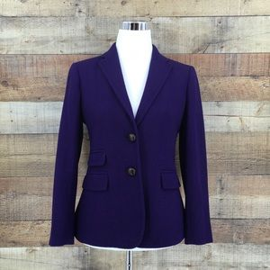 J Crew Hacking Purple Herringbone Wool Blazer
